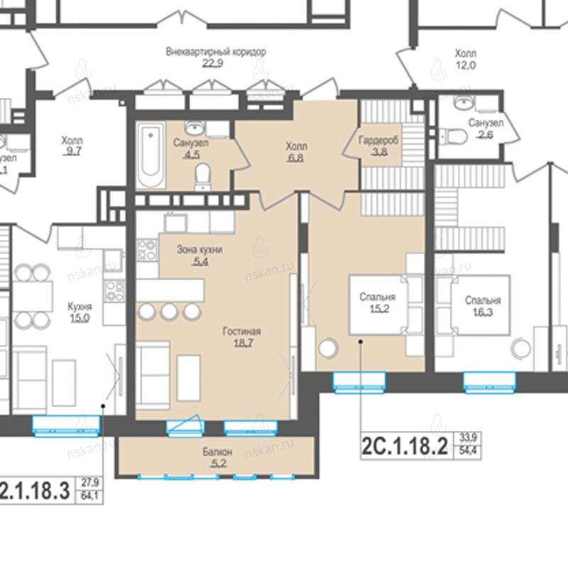 Планировка 2-комн. студия площадью 54.4 м<sup>2</sup> в ЖК Пифагор