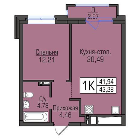 Вариант №2945, 2-комнатная квартира в жилом комплексе