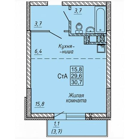 Вариант №5323, 1-комнатная квартира в жилом комплексе