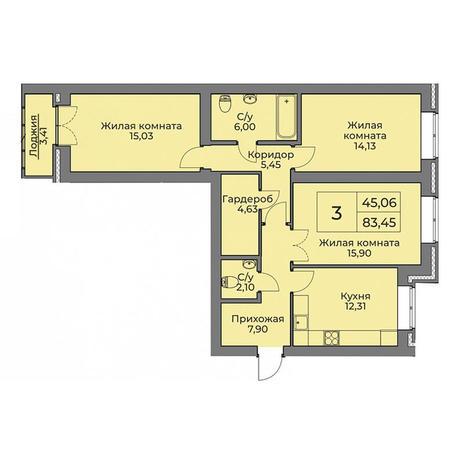 Вариант №3547, 3-комнатная квартира в жилом комплексе