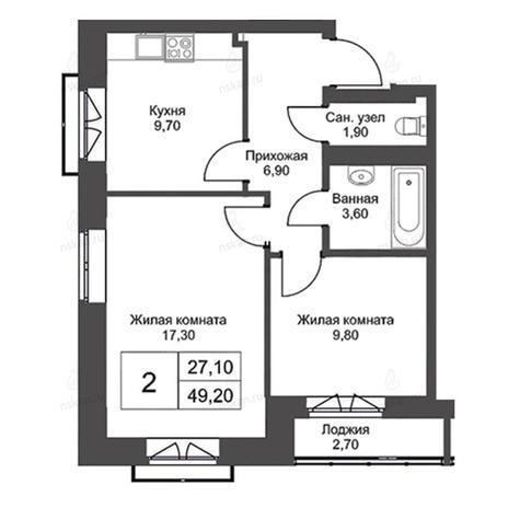 Вариант №2726, 2-комнатная квартира в жилом комплексе Эволюция