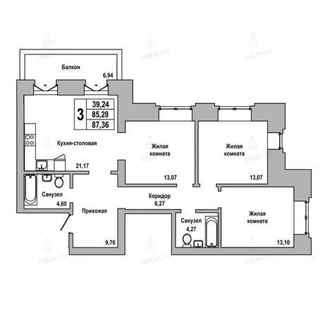 Вариант №1021, 3-комнатная квартира в жилом комплексе ГринАрт