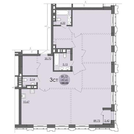 Вариант №4742, 4-комнатная квартира в жилом комплексе