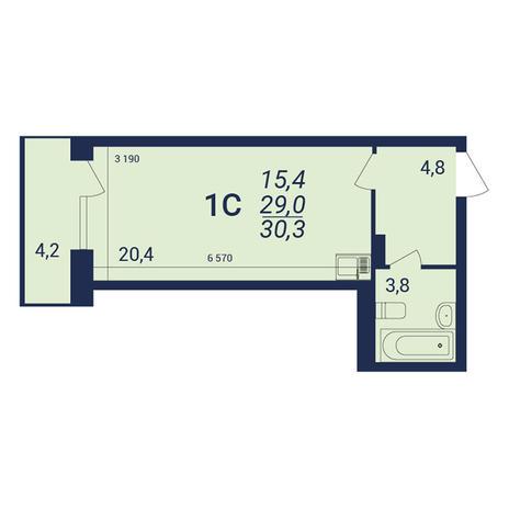 Вариант №3919, 1-комнатная квартира в жилом комплексе NOVA-дом