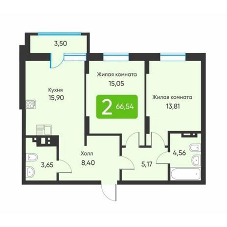 Вариант №5890, 2-комнатная квартира в жилом комплексе