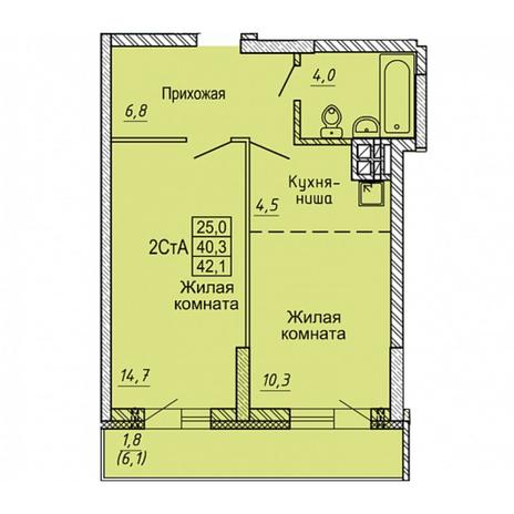 Вариант №5649, 2-комнатная квартира в жилом комплексе