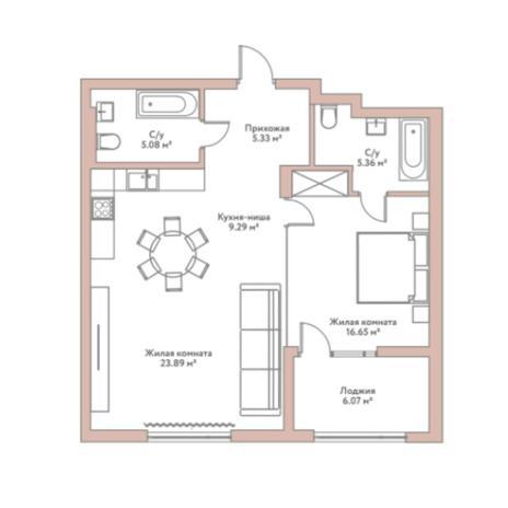 Вариант №5955, 2-комнатная квартира в жилом комплексе