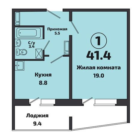 Вариант №3826, 1-комнатная квартира в жилом комплексе