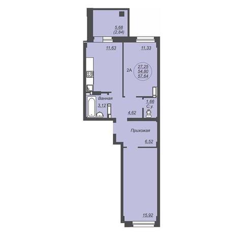 Вариант №4925, 2-комнатная квартира в жилом комплексе