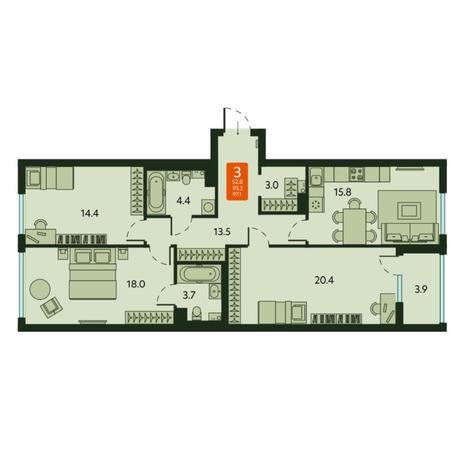 Вариант №6674, 3-комнатная квартира в жилом комплексе