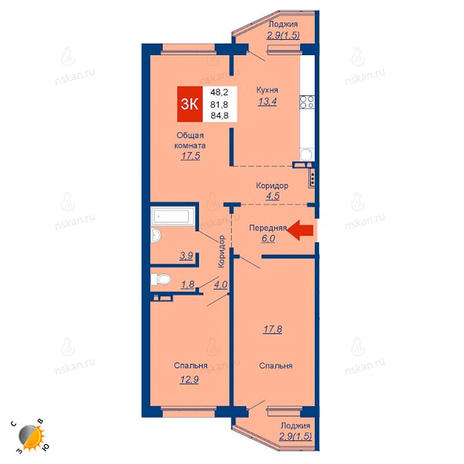 Вариант №1947, 3-комнатная квартира в жилом комплексе
