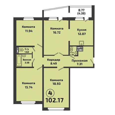 Вариант №3390, 4-комнатная квартира в жилом комплексе Родники