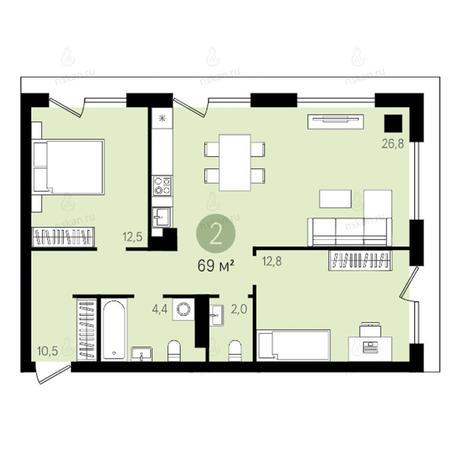 Вариант №2626, 3-комнатная квартира в жилом комплексе Квартал на Никитина