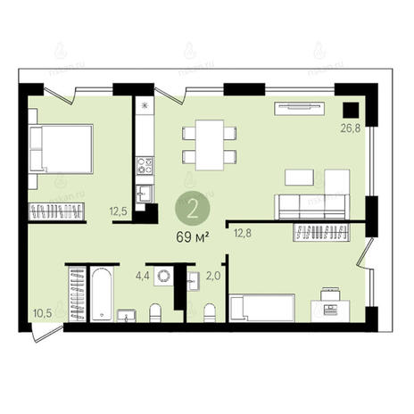 Вариант №2626, 3-комнатная квартира в жилом комплексе
