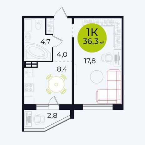 Вариант №4101, 1-комнатная квартира в жилом комплексе
