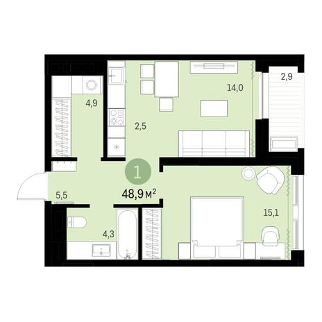 Вариант №6324, 2-комнатная квартира в жилом комплексе