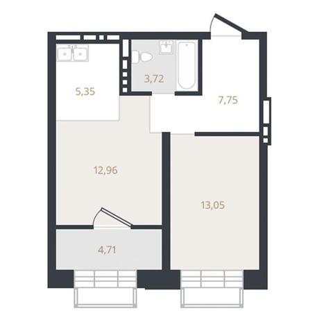 Вариант №3329, 1-комнатная квартира в жилом комплексе Оазис