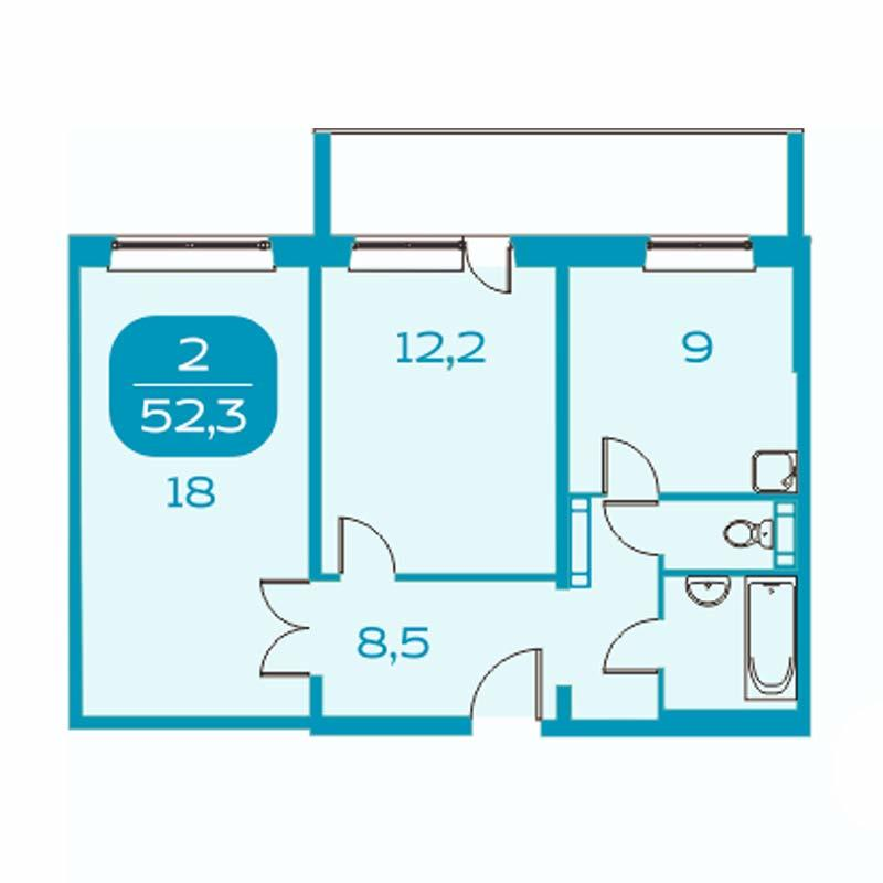 Планировка 2-комнатная площадью 52.3 м<sup>2</sup> в ЖК Аквамарин