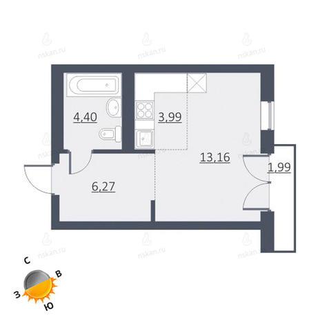 Вариант №1646, 1-комнатная квартира в жилом комплексе Дунаевский