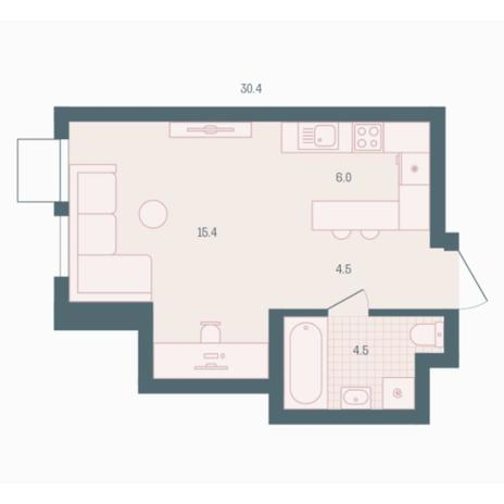 Вариант №5920, 1-комнатная квартира в жилом комплексе Родники