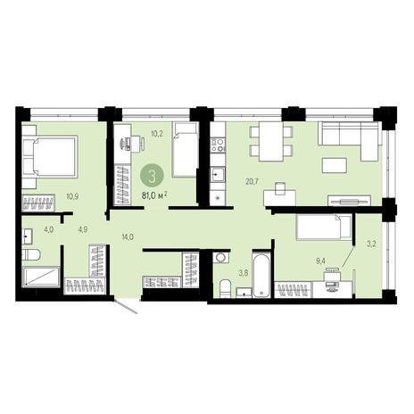Вариант №4811, 4-комнатная квартира в жилом комплексе Пшеница