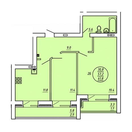 Вариант №3590, 2-комнатная квартира в жилом комплексе Эволюция