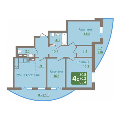 Вариант №3039, 4-комнатная квартира в жилом комплексе