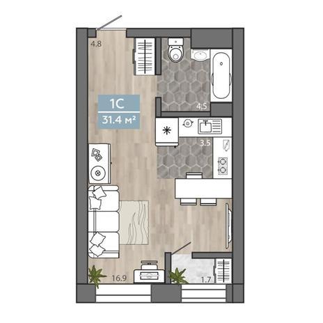 Вариант №3109, 1-комнатная квартира в жилом комплексе На Королева