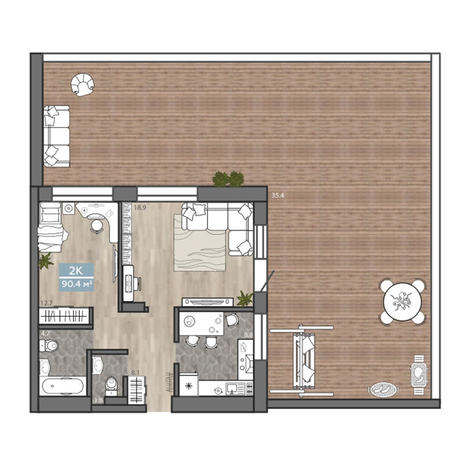 Вариант №3115, 2-комнатная квартира в жилом комплексе