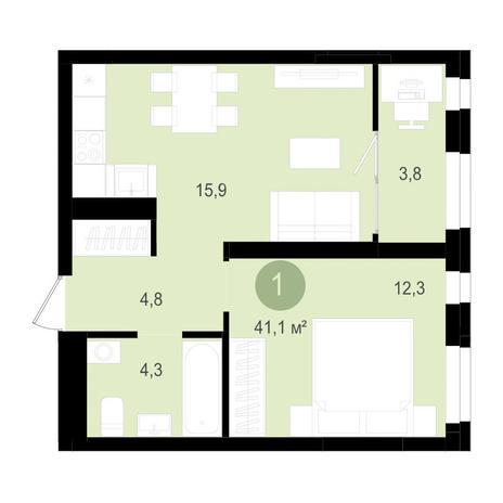 Вариант №3514, 2-комнатная квартира в жилом комплексе