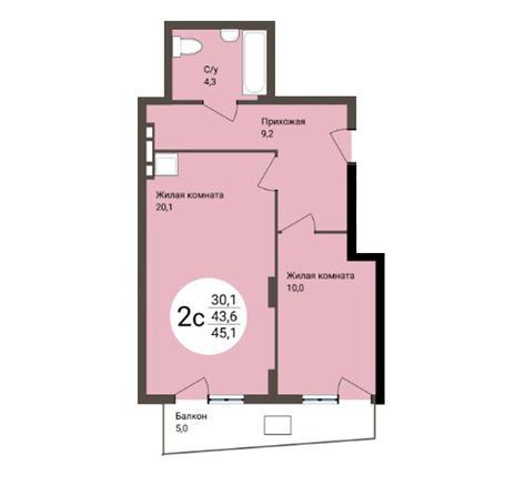 Вариант №4555, 2-комнатная квартира в жилом комплексе Ясный берег