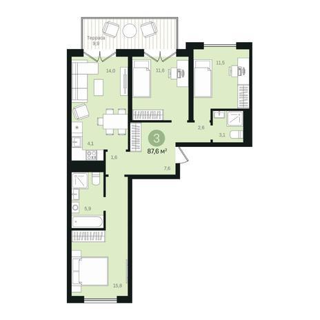 Вариант №6356, 4-комнатная квартира в жилом комплексе