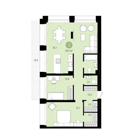 Вариант №6287, 3-комнатная квартира в жилом комплексе