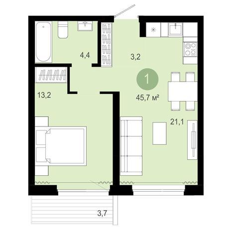 Вариант №4079, 2-комнатная квартира в жилом комплексе