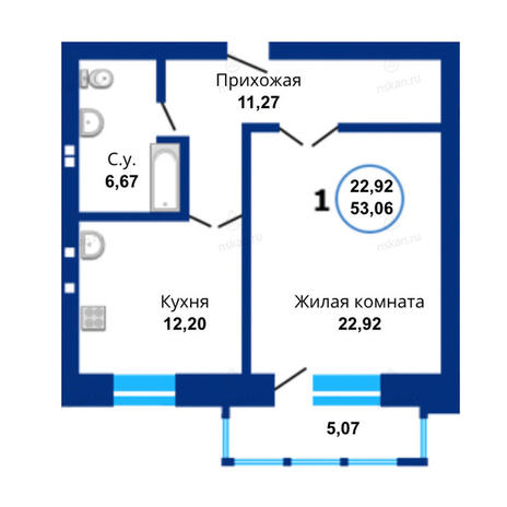 Вариант №1673, 1-комнатная квартира в жилом комплексе