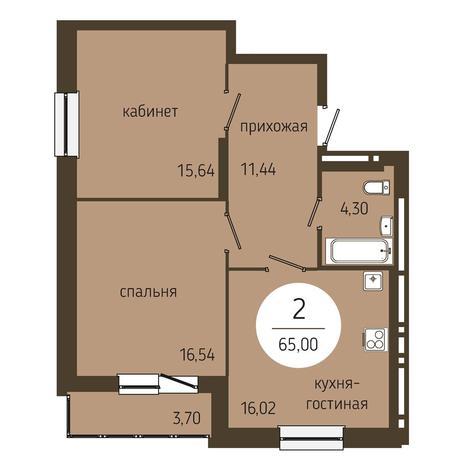 Вариант №4047, 2-комнатная квартира в жилом комплексе Оникс