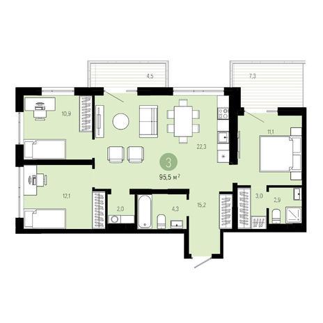 Вариант №4615, 4-комнатная квартира в жилом комплексе Пшеница
