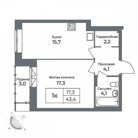 Вариант №5612, 1-комнатная квартира в жилом комплексе Я - Маяковский
