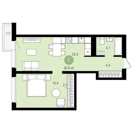 Вариант №4154, 2-комнатная квартира в жилом комплексе Авиатор