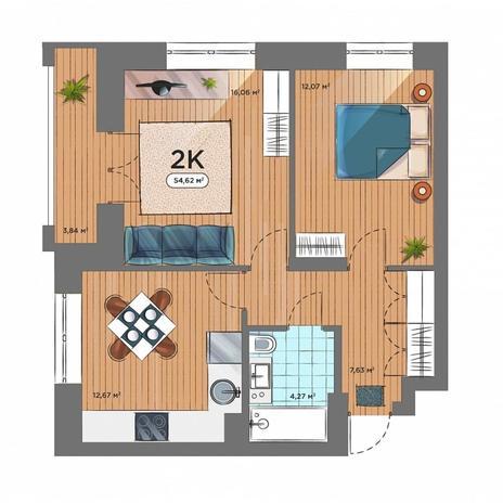 Вариант №5162, 2-комнатная квартира в жилом комплексе Новые Снегири