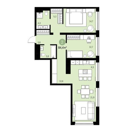 Вариант №6311, 3-комнатная квартира в жилом комплексе