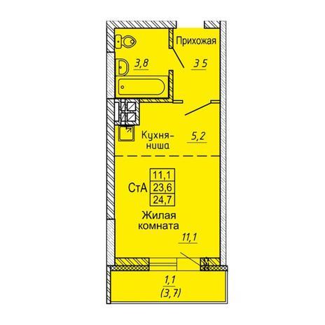 Вариант №5641, 1-комнатная квартира в жилом комплексе