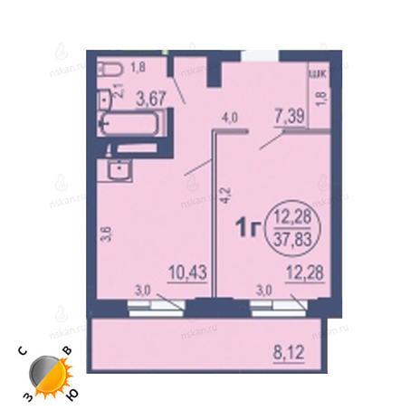 Вариант №1689, 1-комнатная квартира в жилом комплексе На Зыряновской