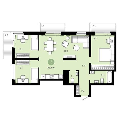 Вариант №4087, 4-комнатная квартира в жилом комплексе Европейский Берег
