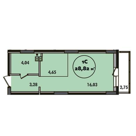 Вариант №5497, 1-комнатная квартира в жилом комплексе