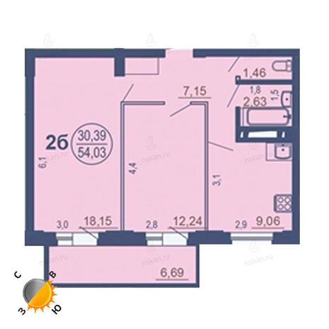 Вариант №1684, 2-комнатная квартира в жилом комплексе На Зыряновской