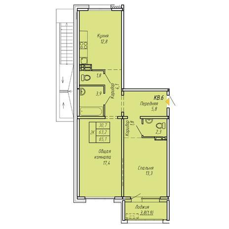 Вариант №6071, 2-комнатная квартира в жилом комплексе