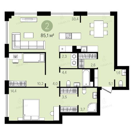 Вариант №2634, 3-комнатная квартира в жилом комплексе