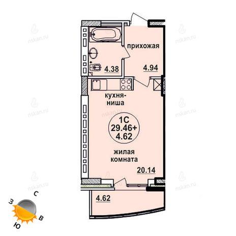 Вариант №618, 1-комнатная квартира в жилом комплексе Заельцовский