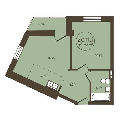 Вариант №3623, 2-комнатная квартира в жилом комплексе